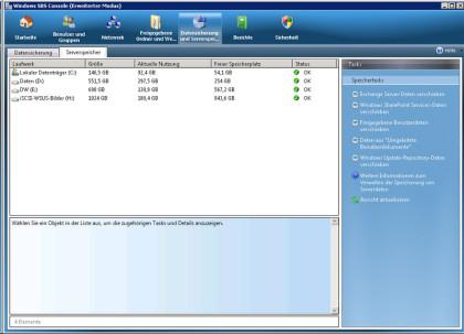 Die Windows SBS 2008 Console funktioiniert wieder nachdem der Laufwerkspfad des WSUS Repositories korrigiert worden ist.