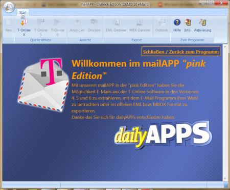 Screenshot: dailyAPPS - mailAPP pink Edition - Emails von T-Online Email zu Outlook 2003 / 2007 / 2008 / 2013 verschieben!