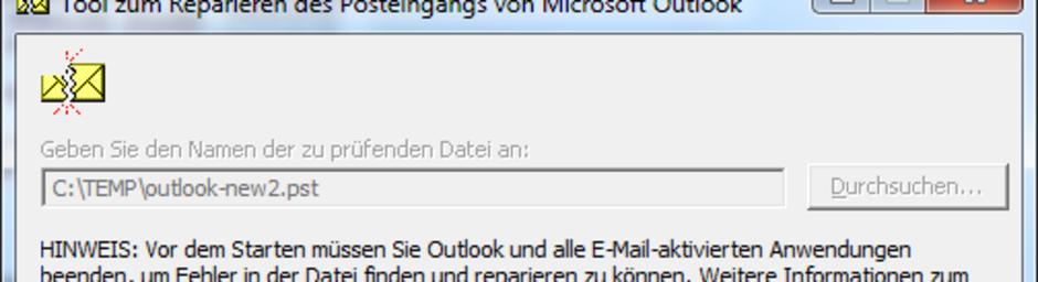 Outlook 2003 2GB Grenze .pst ist leer, keine Emails mehr, keine Kontakte mehr